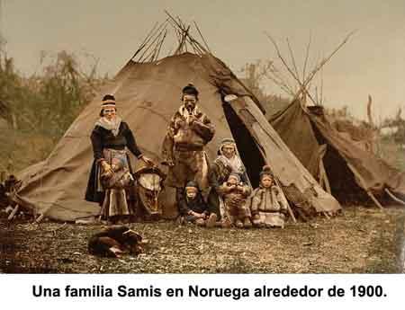 Una familia Samis en Noruega alrededor de 1900.