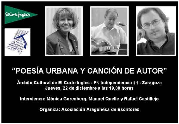 """""""Poesía urbana y canción de autor"""" en el Ciclo """"Letras y música"""""""