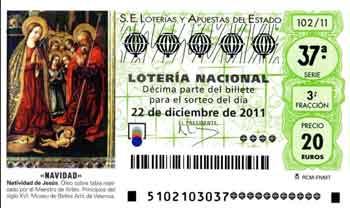 Décimo de Lotería de Navidad del 2011