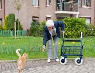 Anciana con andador