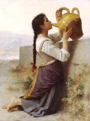Mujer bebiendo de un botijo