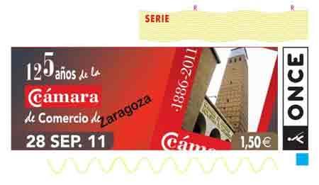 Cupón De La ONCE Dedicado A 125 Aniversario De La Cámara De Comercio De Zaragoza