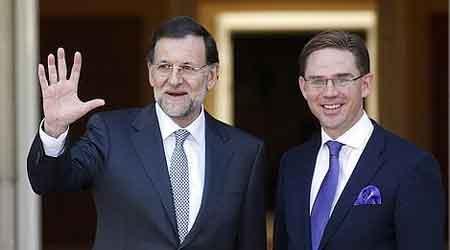 Jyrki Katainen, en su encuentro con Rajoy
