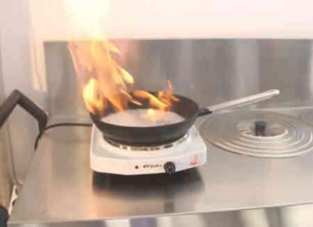 Fuego en la cocina