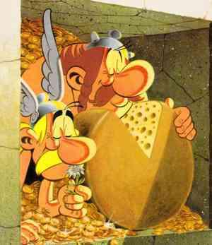 Dibujo de Uderzo, del cómic Asterix en Helvecia.