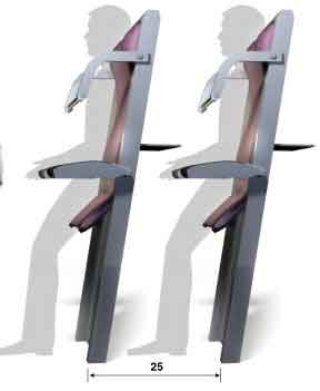 Diseño asientos verticales en aviones Ryanair
