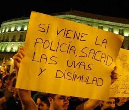 Pancarta para una manifestación no autorizada
