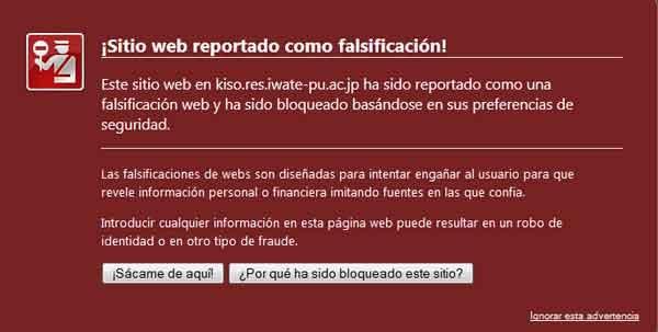 Advertencia de web maliciosa