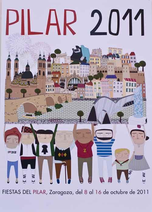 Cartel de las Fiestas del Pilar 2011 por su obra '¡Somos Zaragoza!'.