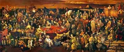 Pintada por artistas Chinos, Dai Dudu, Li Tiezi y Zhang An