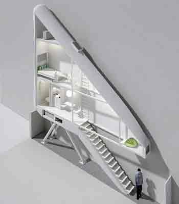 Interior de la casa más estrecha del mundo