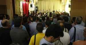 En la asamblea se anunció una huelga general para septiembre u octubre. Foto: C.G.S.