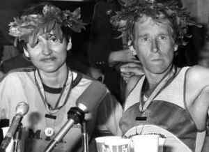 Rosie Ruiz y Bill Rodgers durante la rueda de prensa