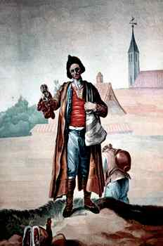 """""""El choricero"""", figura inmortalizada por el pintor Ramón Bayeu en un  tapiz que hoy se puede ver en el Museo del Prado."""